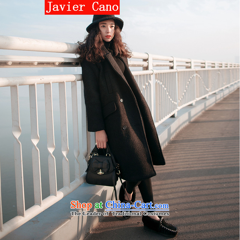 Javier cano2015 autumn and winter load new Korean large loose coat in gross? Long bf wind-thick a wool coat black graphics thinXL