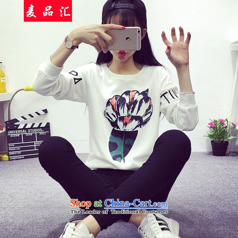 Mr Mak King Hui Code No. 200 female catty thick mm autumn and winter new to intensify the tulip embroidery sweater jacket thick sister video thin white?3XL forming the Netherlands 365