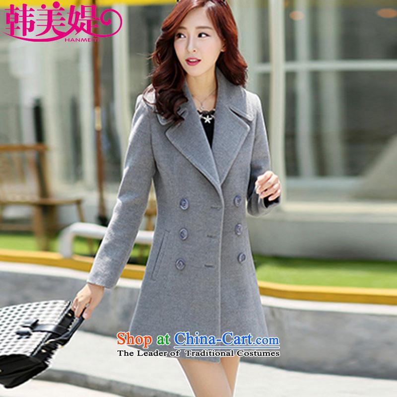 The Korea-U.S. customers Gross? for winter coats women 2015 Korean New Sau San female coat cashmere jacket M021 GRAYM