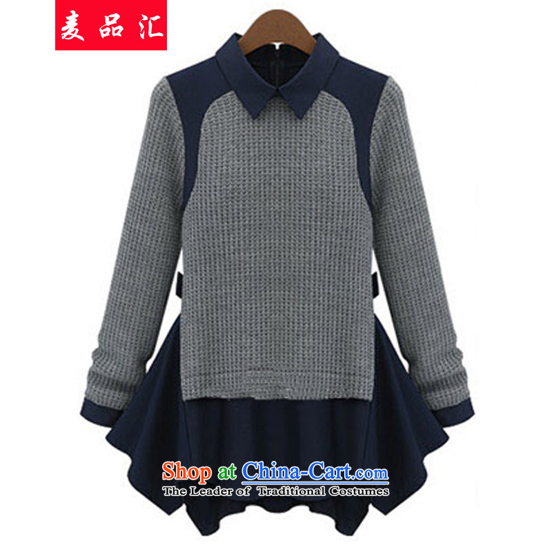 Mr Hui聽200 catties of thick mm ad to xl women in autumn long leave two forming the Netherlands shirt Fall_Winter Collections thick sister video thin shirt 632 light gray聽5XL