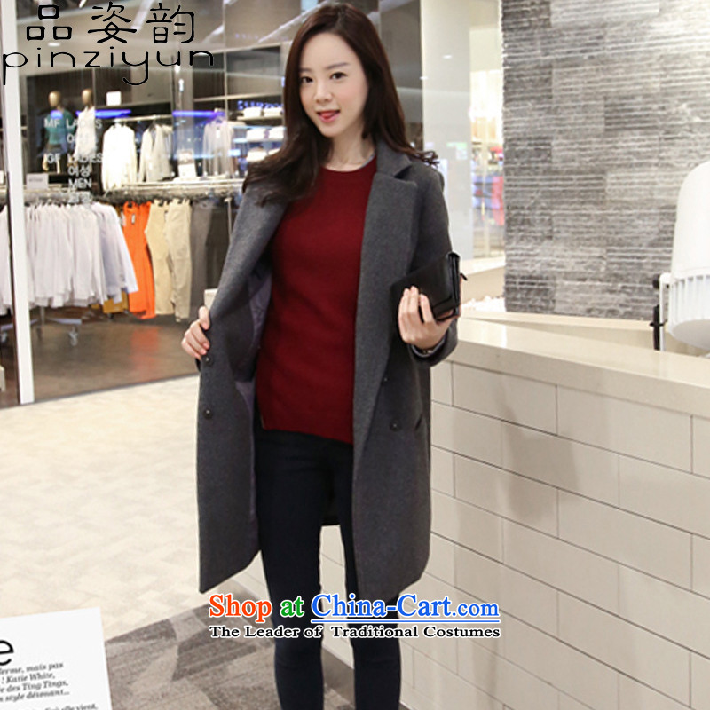 Gigi Lai following 2015 No. autumn and winter new product code women 200 catties a wool coat thick mm mount version in Korea thin long Leisure? jacket female gray hair L
