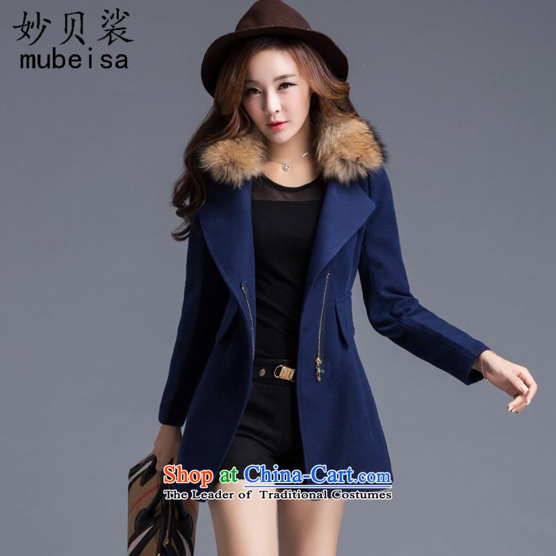 Mya Addis Ababa solar2015 autumn and winter new Korean women in long roll collar zipper gross coats female navy? WITHOUTL