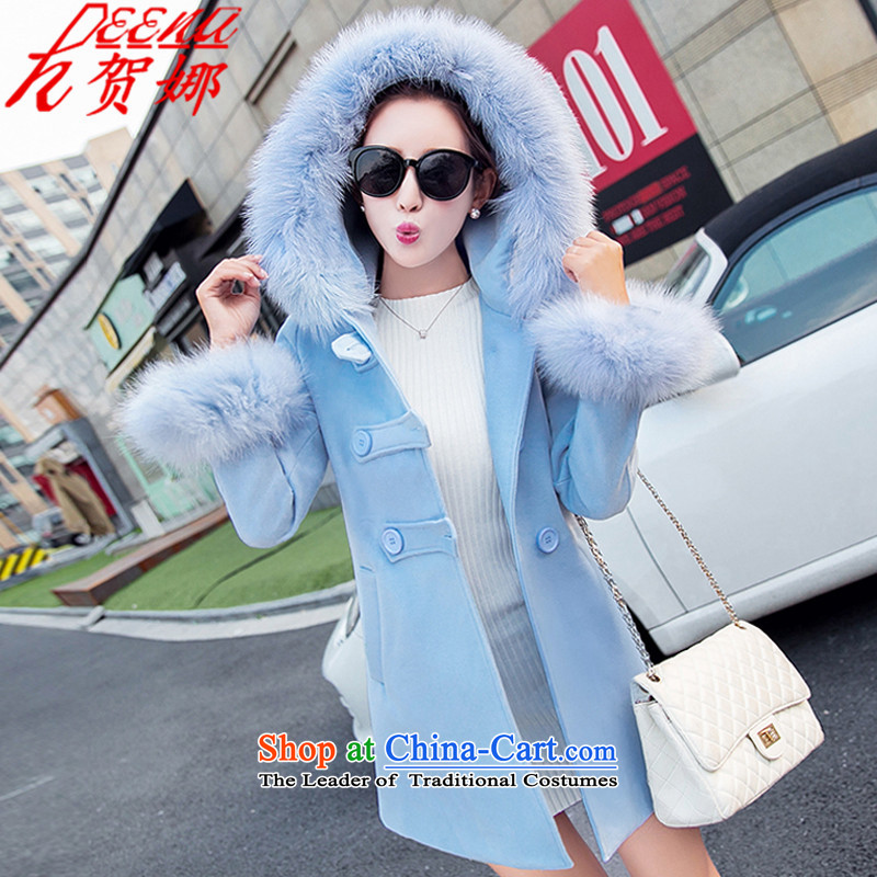 The gross? coat he female jackets 2015 autumn and winter new gross for a thick and long) 789 BLUE L