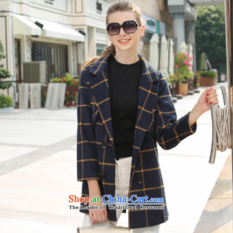 A wool coat in long jacket, blueM
