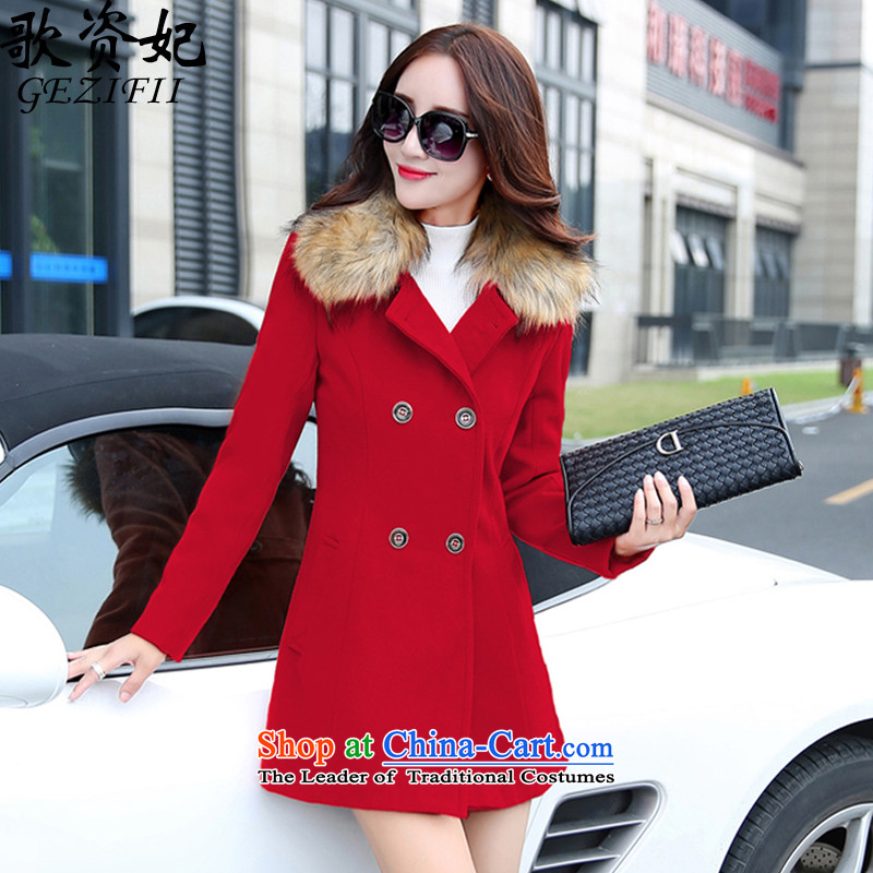 Song for 2015 gross? coats of Princess female winter clothing new Korean girl in gross? jacket long nagymaros for Sau San a wool coat red L