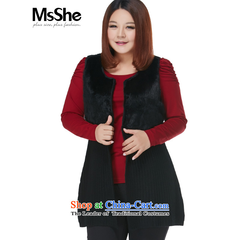 Msshe xl women 2015 new autumn and winter and fur grass MM thick vest stitching knitted cardigans 2598 Black 4XL