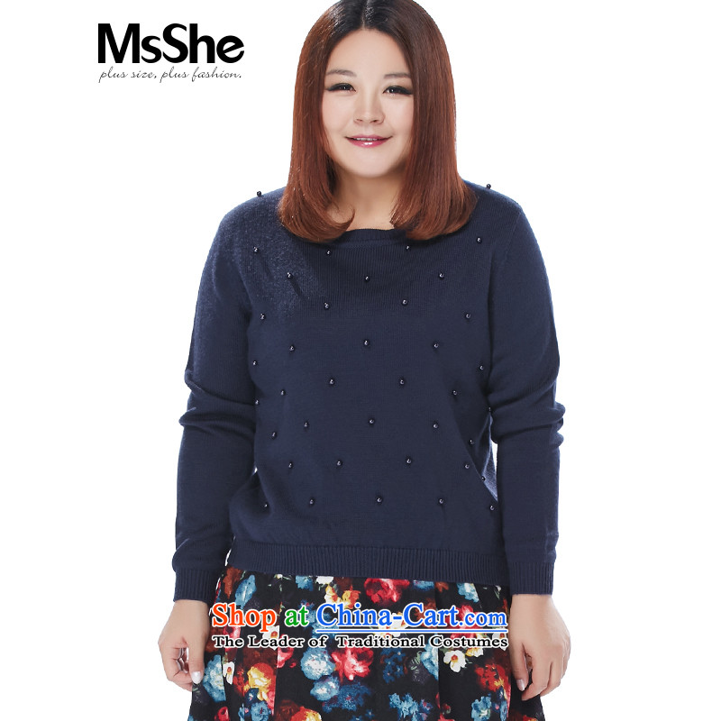 To increase the number msshe women 2015 new autumn and winter Fat MM Rib Neck Sweater Knit 8,592 Blue�L