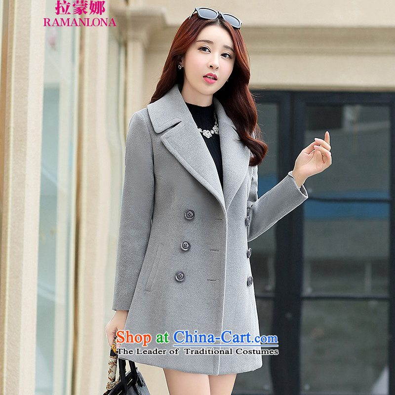 Ramon The 2015 autumn and winter in new women's long Korean jacket coat female 806 gross? gray color燤
