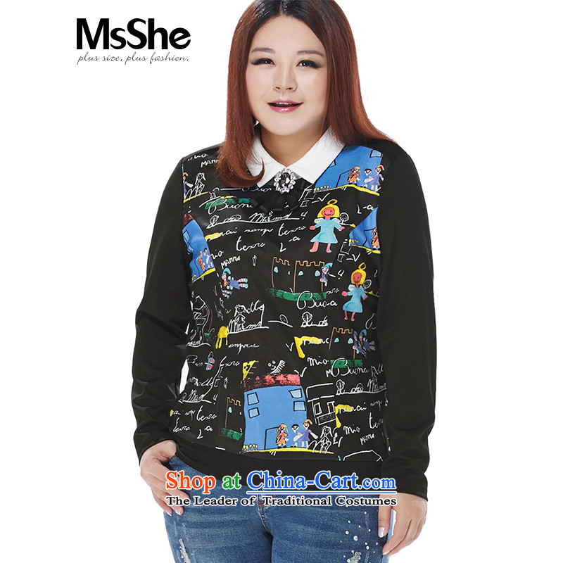 To increase the number msshe women 2015 new autumn and winter thick MM Color Plane Collision lapel thin coat 10490 Graphics   Black blue flowers�L to large a yard