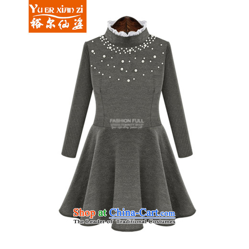 Yu-Sin-thick mm video thin new autumn and winter dresses female nail-ju high collar long-sleeved clothes to wear the stylish xl female tide5227 carbonXL115-128 recommends that you Jin