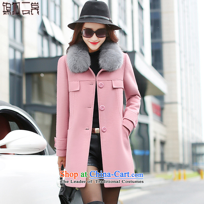 Kam Fox Ella2015 winter new anti-Korean gross for Fox gross jacket female decorated? in the body of this large 005 pink jacketXXL