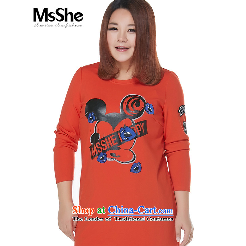 To increase the number msshe women 2015 new autumn and winter thick sister leisure stamp Sau San Dress Shirt 10435 orange2XL