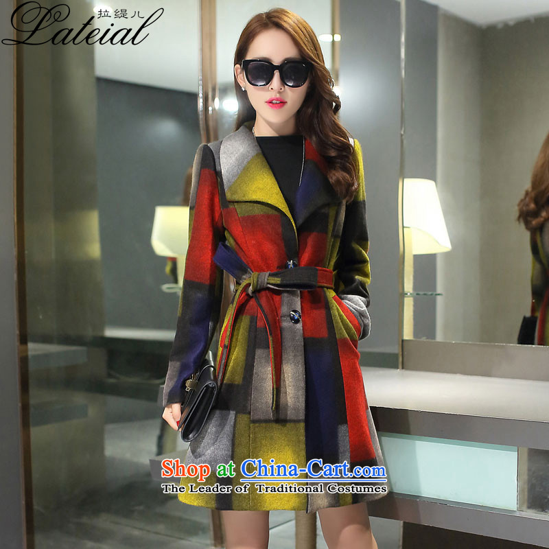 Pull economy-聽2015 autumn and winter new women's winter coats Gross Gross girl?? jacket Sau San Box long聽355聽yellow聽XXL