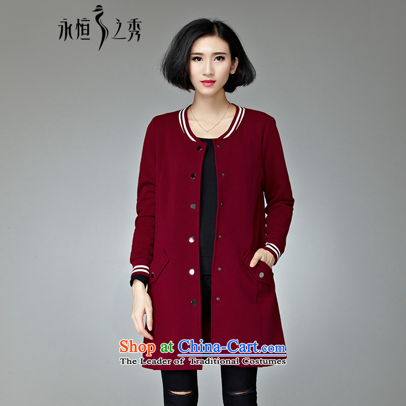 The Eternal Yuexiu code female jackets 2015 Fall/Winter Collections of new products thick mm sister graphics in autumn thin long thick temperament loose to people xl jacket chestnut horses 4XL