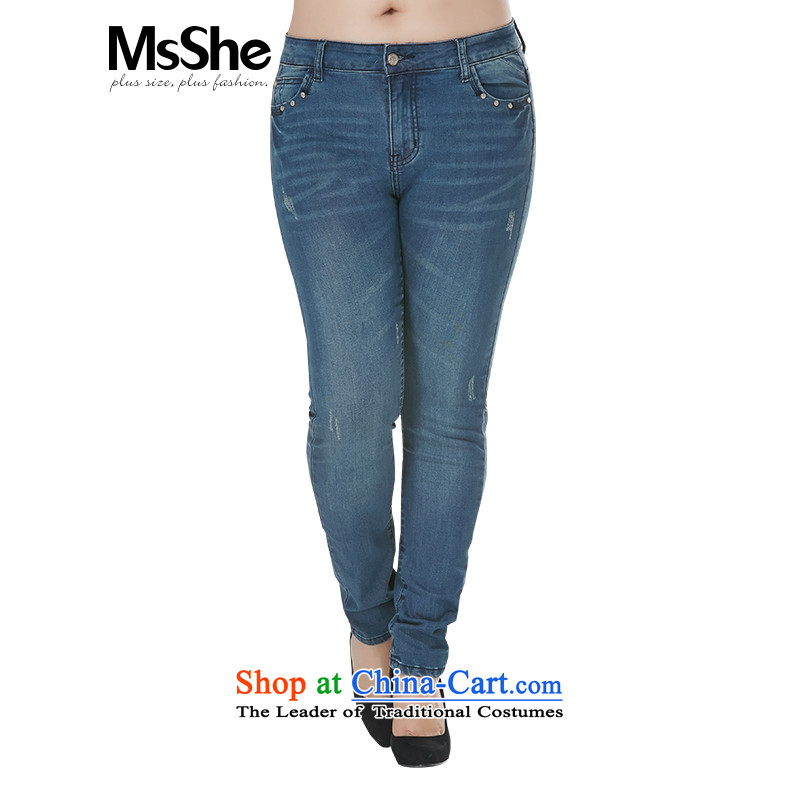 Msshe xl women 2015 new autumn and winter 200 catties wild holed cowboy trousers castor trousers Denim blue5XL Seoul metropolitan government reported