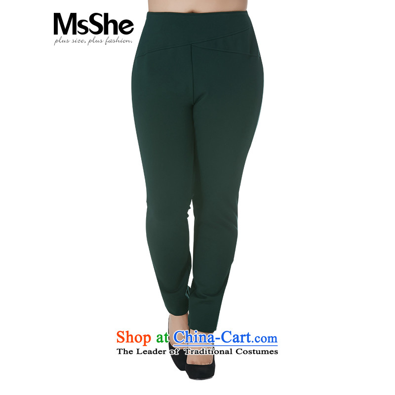 Msshe xl women 2015 new autumn and winter in sister waist-thick hair, forming the warm trousers trousers 10903 dark green燭4