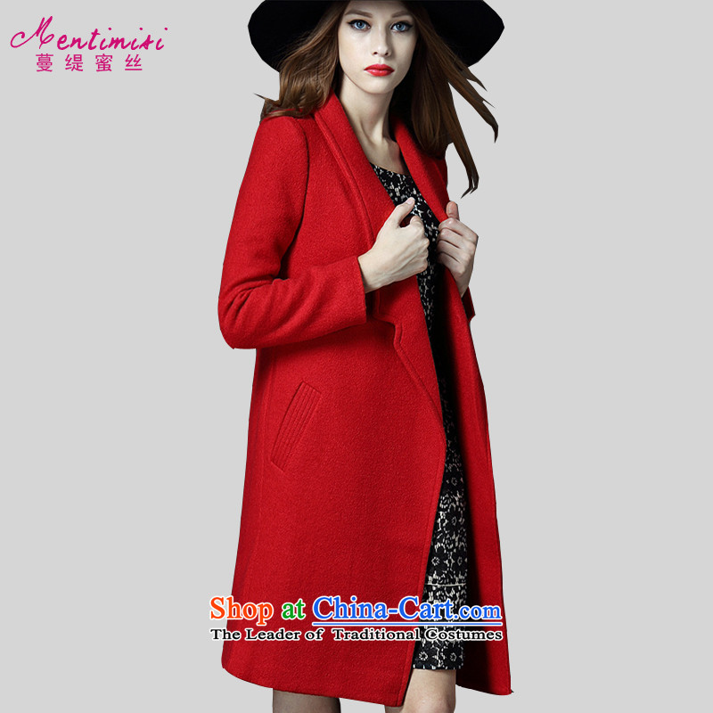Overgrown Tomb economy honey population to increase women's code thick mm in autumn and winter long stylish simplicity Wild Hair? long-sleeved video thin-coats wear 5212 big red code 4XL around 922.747 175