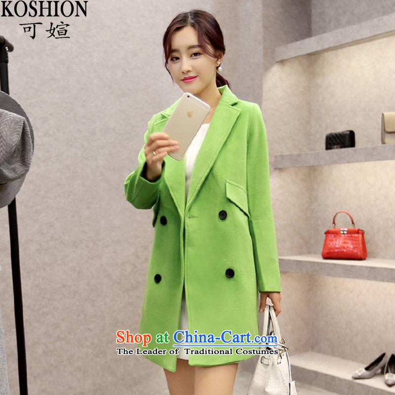 There can be new autumn and winter 2015. Long Korean concept cocoon-Leisure Street Gross 710 green jacket coat?燤
