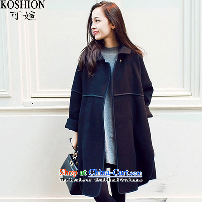 Here you can fall and winter cloak lapel cocoon-jacket in gross? long large Korean loose double-sided a wool coat 607.2 Black M