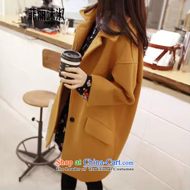 The Philippines Lai Suk FLMS spray 2015 autumn and winter new Korean large relaxd in thin long graphics Sau San gross coats female 259? turmeric yellow XXXXL