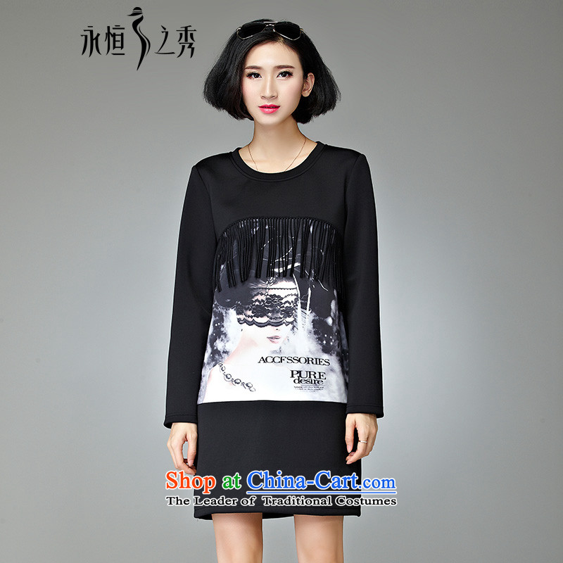 The Eternal Sau 2015 winter clothing new temperament video large thin female Korean dresses Black聽XL