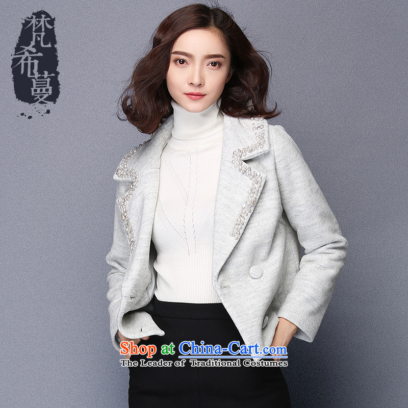 Van Gogh Greek Golden Harvest autumn and winter 2015 new products small-wind-zhu staple manually reverse collar long-sleeved jacket double-gross?�930 Female爂ray燬