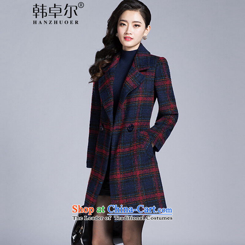 Korea's�15 autumn and winter in the new long block long-sleeved gross be temperament X3042 jacket, red燣