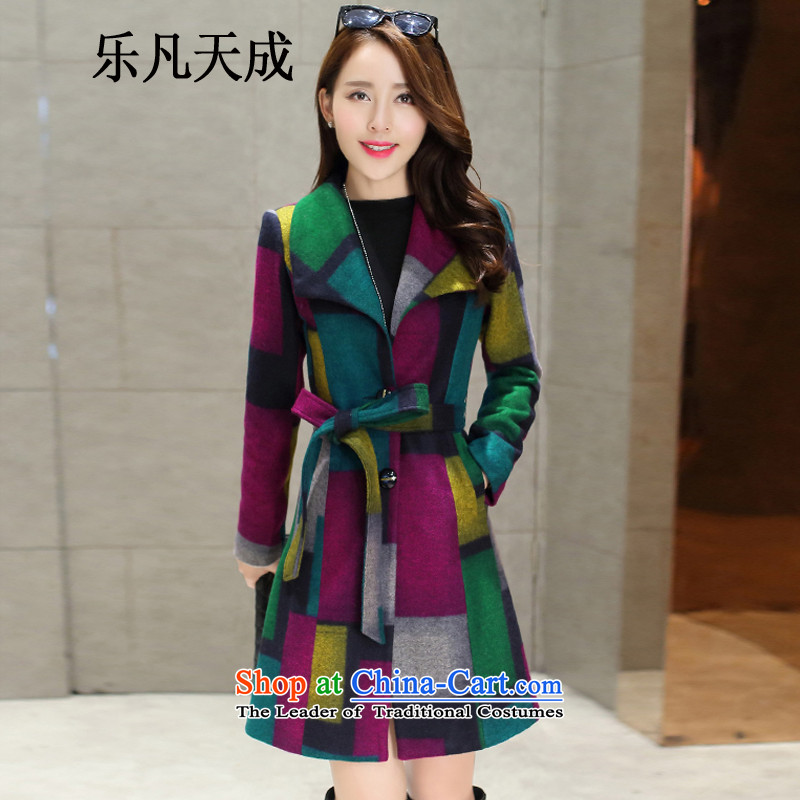 America where Tian Cheng 2015 autumn and winter new grid jacket knocked color Sau San in the long hair? 355 G blue of the coatsXL