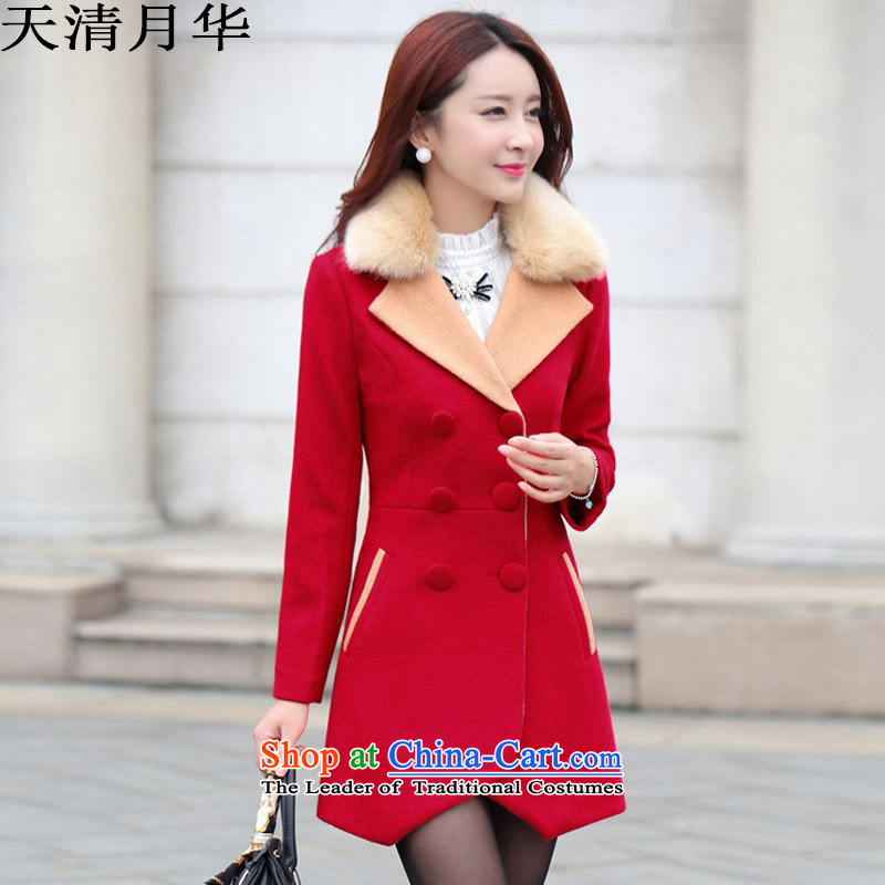 On China Tachee larger women 2015 winter clothing new Korean version of the video in Sau San thin long double-a wool coat female red聽XXL