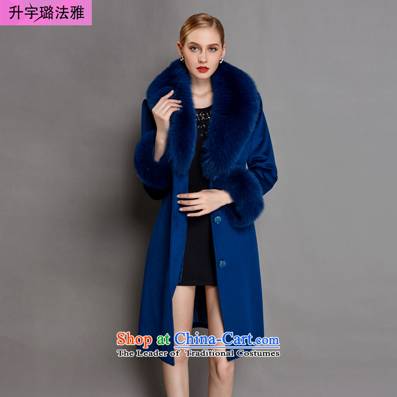 C.o.d. l-woo and purchase high-end women 2015 winter clothing new wool sleeve Fox for coats, wool cashmere overcome long Denim blue _wool sleeve_ XL