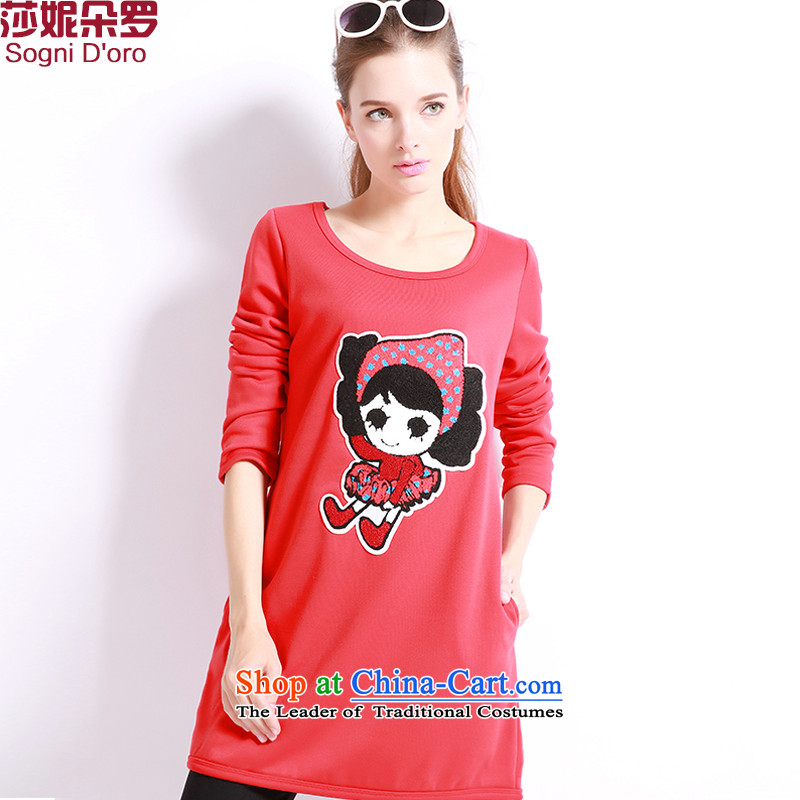 Luo Shani flower code T-shirts with lint-free thick thick sister autumn and winter to intensify the thick mm thin Korean shirt graphics 6 019plus lint-free extra thick red 6XL-
