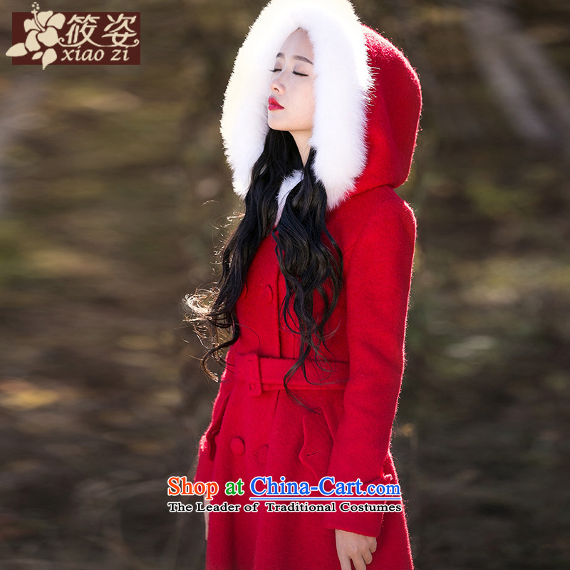 Gigi Lai Siu-lady 2015 winter new retro long hair so Sau San coats fox gross pure color is red M long coats pre-sale 35 days_