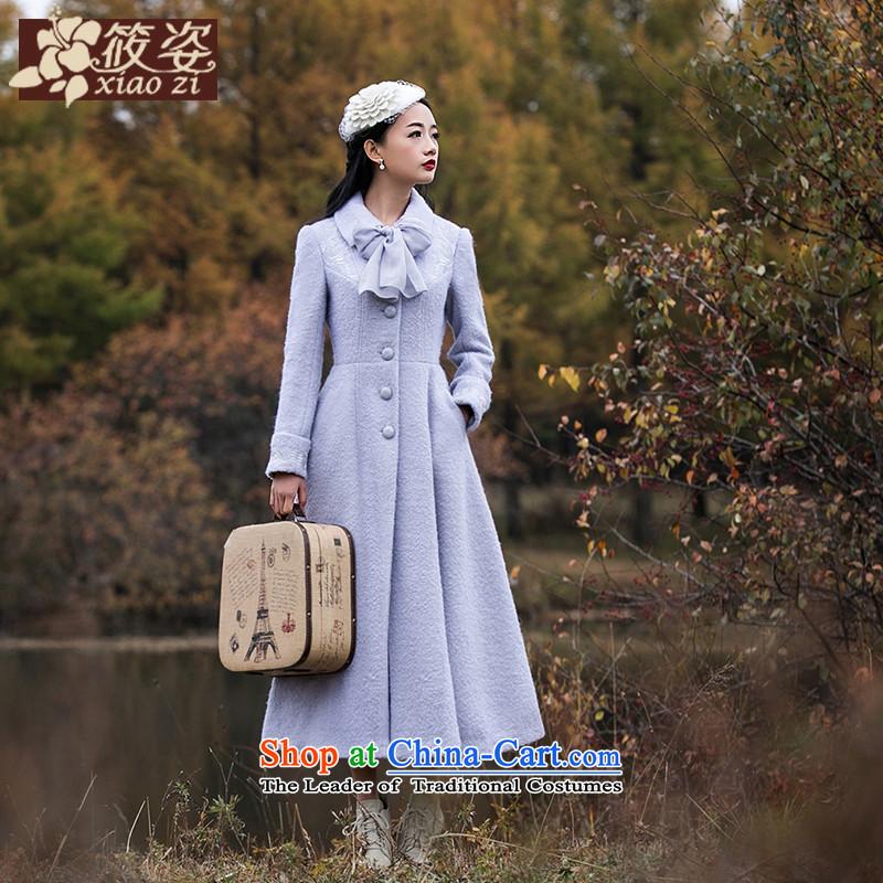 Gigi Lai Siu-Jing Meng2015 winter new retro solid color embroidered coats of Sau San long hair? jacket light violet GrayL pre-sale 35 days)