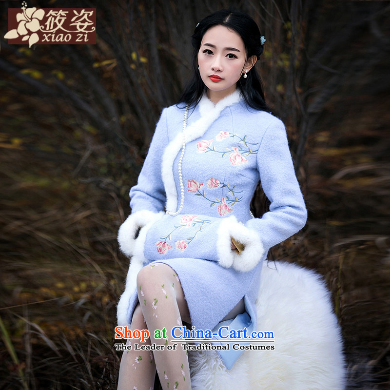 Gigi Lai Siu-country recalled that爊ew winter 2015 Blue Small fresh rabbit hair embroidery of the forklift truck in Sau San side long hairs? jacket light blue燲L_ pre-sale 35 days_