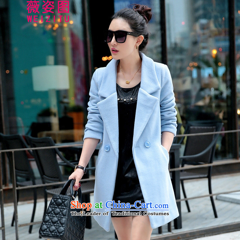 Vichy figure 2015 Fall_Winter Collections Korean female jacket? gross han bum commuter autumn Connie larger in sub-coats Long Wave Small incense winter Sau San light blue XL