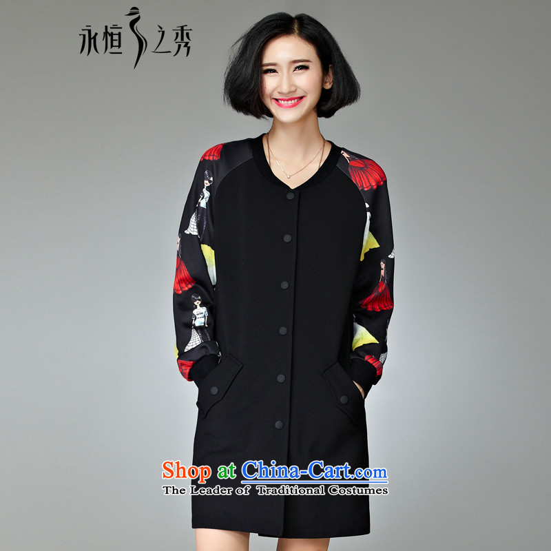 The Eternal Soo-XL female jackets Fall/Winter Collections 2015 new thick MM thick, stylish western sister video in thin long to 200 catties black jacket 4XL