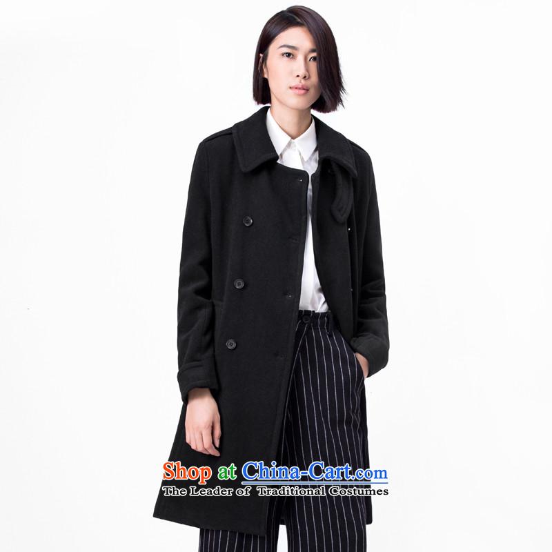 Amii wild double-reverse collar wool a black jacket燤