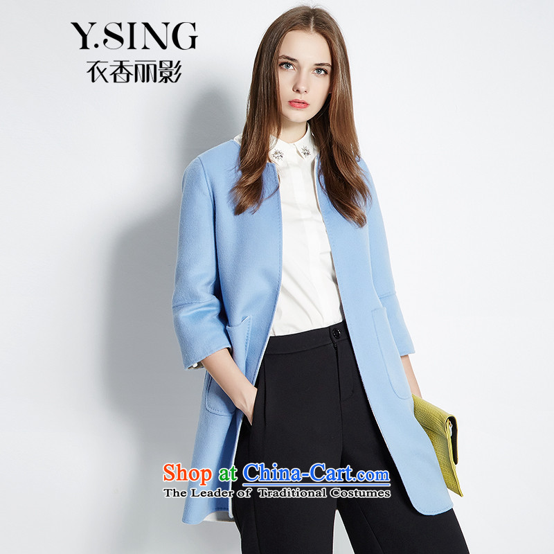 Hong Lai Ying 2015 winter clothing new classy solid color round-neck collar double-side gross seven female jacket? cuff blue (56) S