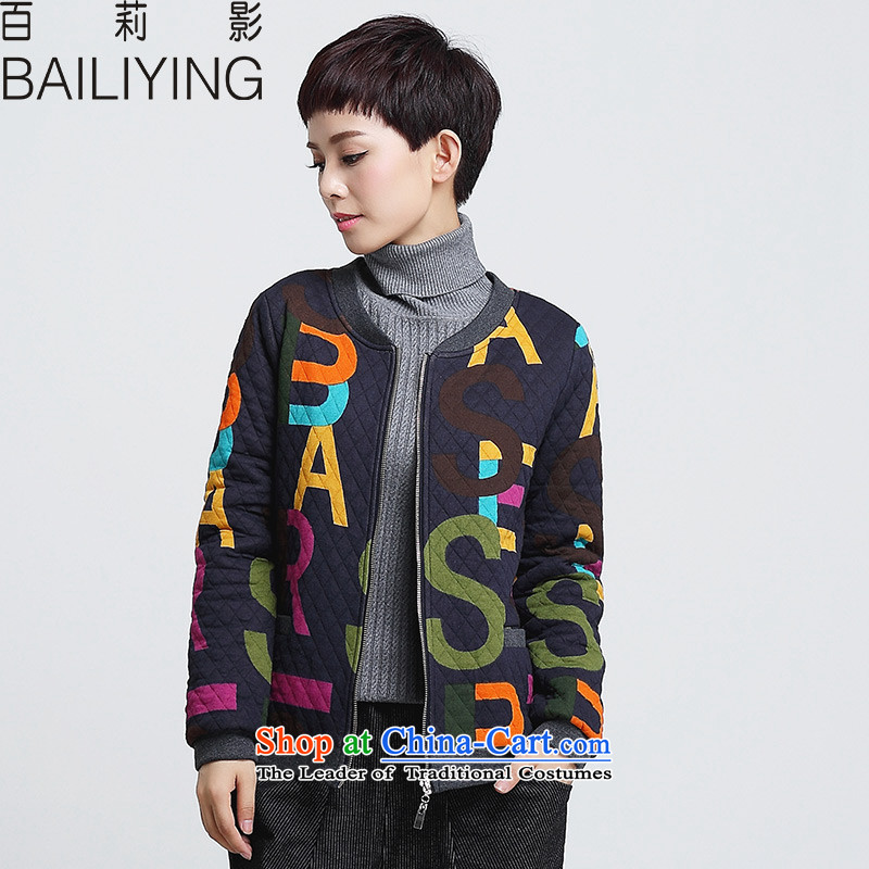 Hundred Li Ying�15 winter clothing new thick sister thick short jacket, female larger female loose video thin cotton letters cotton coat navy 3XL