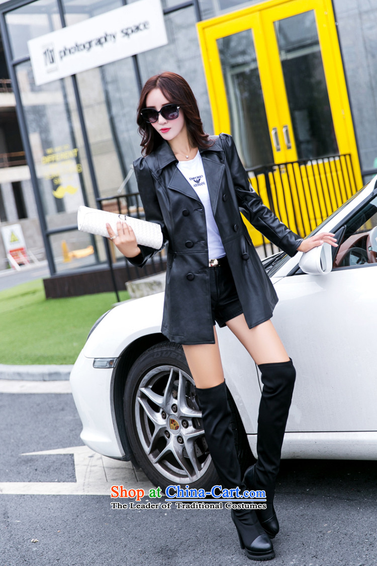 Ink marks Korean autumn and winter new 200 catties to increase women's code in mm thick long thin leather jacket Sau San video jacket double-windbreaker聽1562聽Black聽6XL picture, prices, brand platters! The elections are supplied in the national character of distribution, so action, buy now enjoy more preferential! As soon as possible.