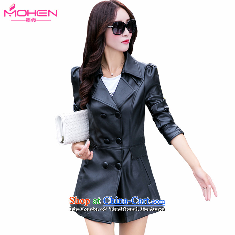 Ink marks Korean autumn and winter new 200 catties to increase women's code in mm thick long thin leather jacket Sau San video jacket double-聽1562聽Black聽6XL Windbreaker