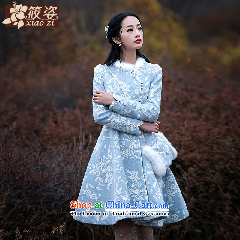 Gigi Lai Siu-landscape?2015 winter new rabbit hair embroidered fresh lace gross? female jackets light blue on white flower?PUERTORRICANS 35 pre-sale_