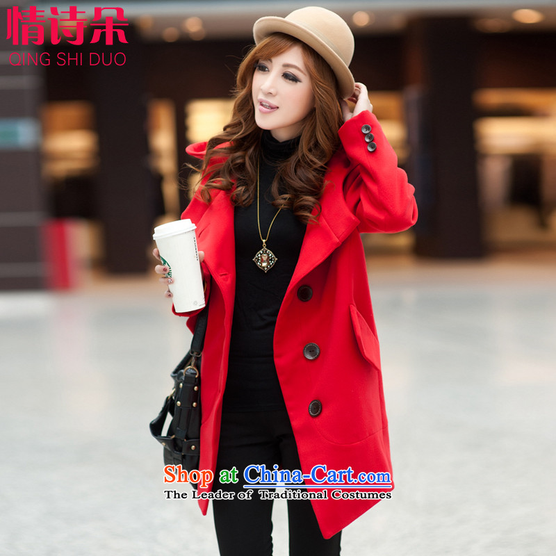 All flower gross? 2015 autumn and winter coats female Korean version to load increase in long loose thick MM a wool coat PYY2012XXXL red