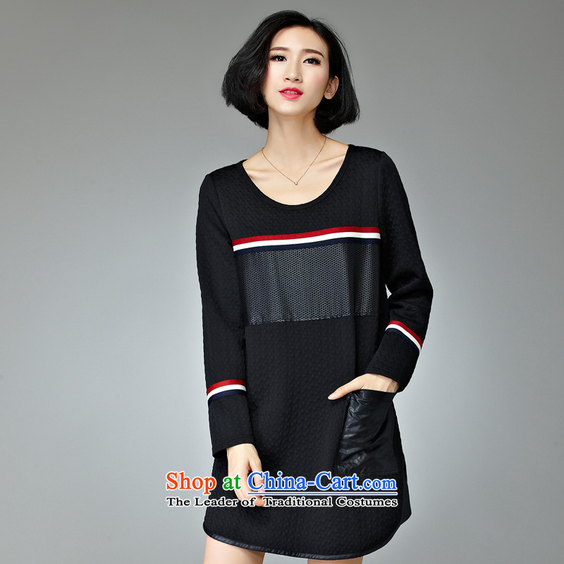 The Eternal Soo-XL long-sleeved T-shirts 2015 Fall/Winter Collections new product version won new thick mm sister dresses to 200 catties, long black shirts 4XL