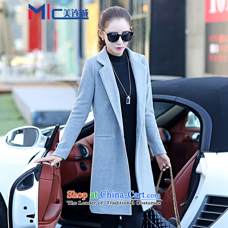 Mei Lin Shing 2015 winter new gross? jacket women's temperament in stylish version of Sau San video thin a wool coat Gray L