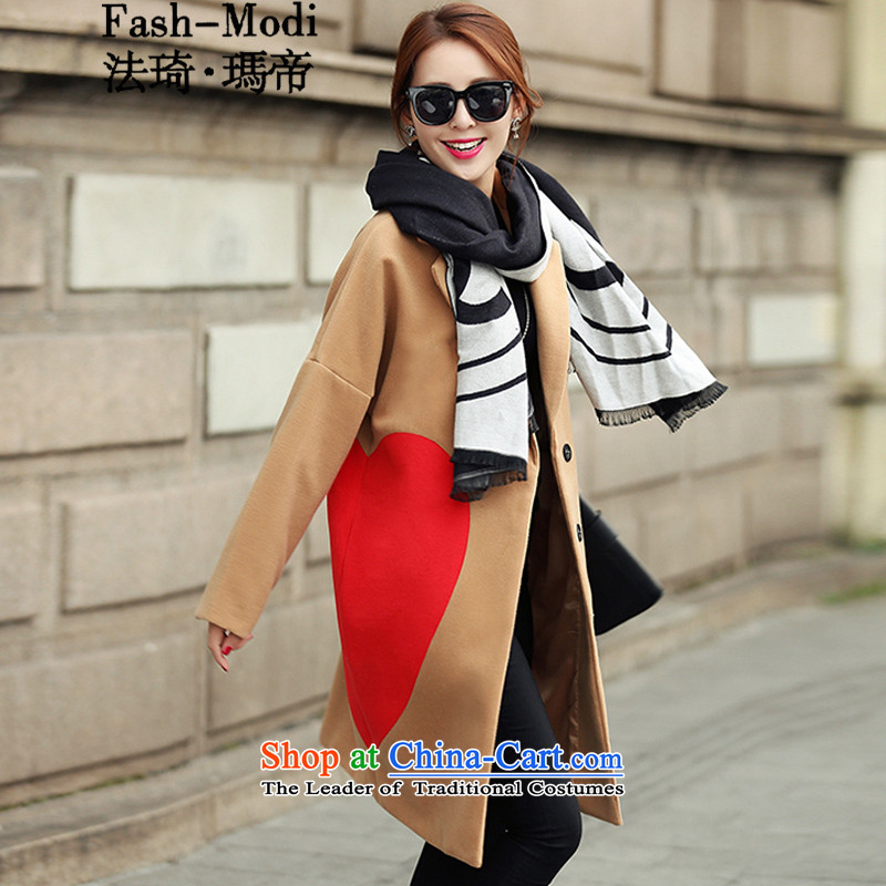 The law was in Dili wool is Qi jacket female Korean version of autumn and winter 2015 new Western big heart-shaped stamp large relaxd cocoon-video in the thin long a wool coat female khaki?XL