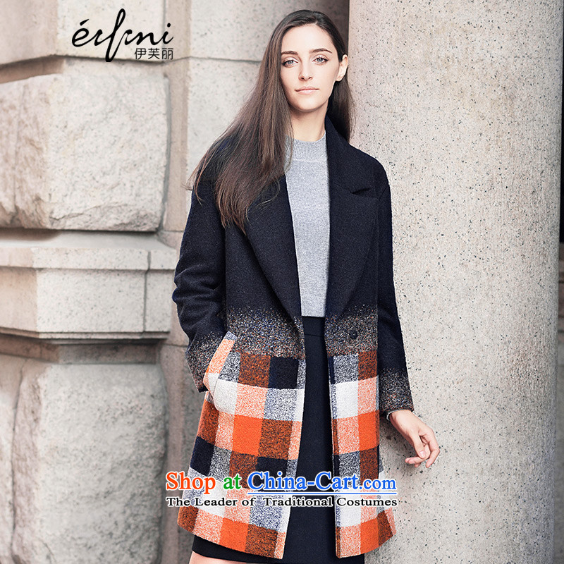 Of the 2015 Winter New Lai Korean lapel gross to grow up? jacket coat female 6581017630 navy blue M