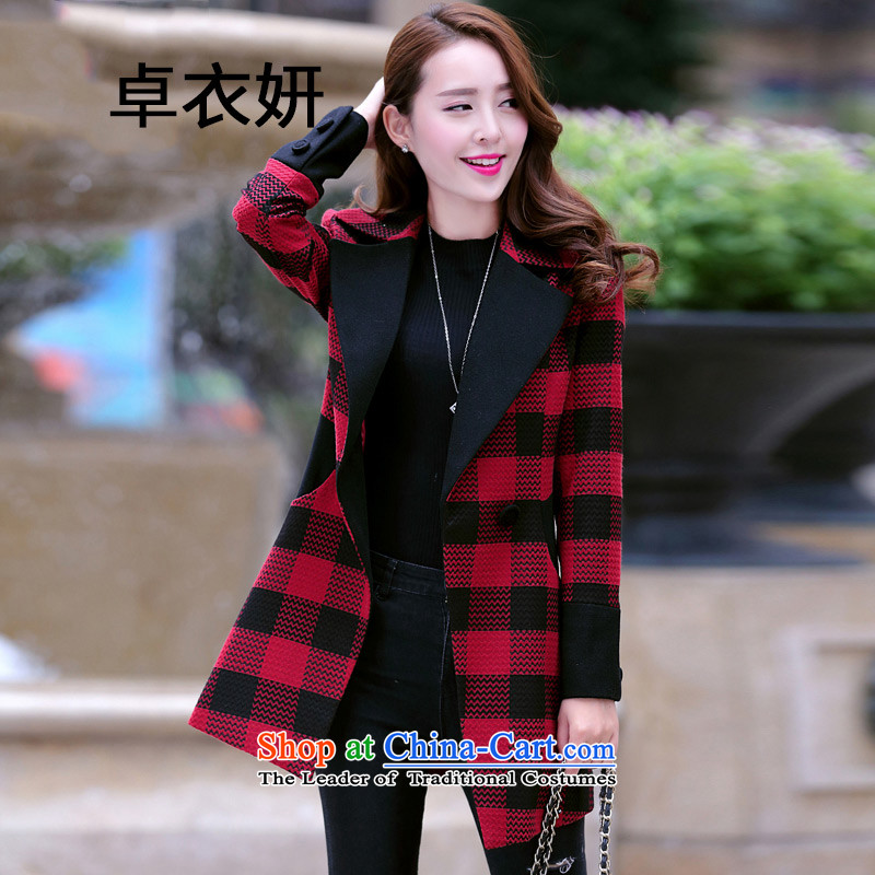 Install the latest autumn and winter 1448_2015_ won video graphics thin Sau San OL commuter children in long hair red jacket?燲L