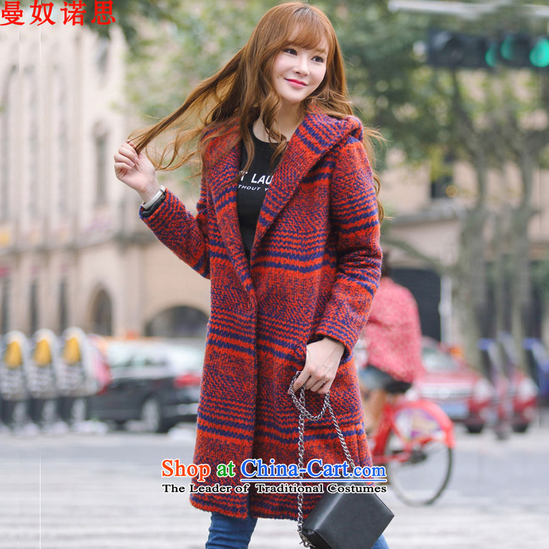 Yehudi Contragate 2015 autumn and winter new Korean grid butted long double-gross Tangerine Orange Female coat?聽M
