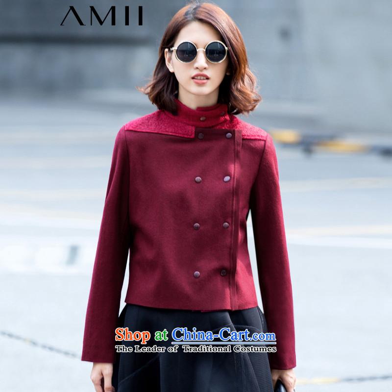 Amii- minimalist- collar double-wool? stitching larger gross jacket 11591706? wine redXXXL